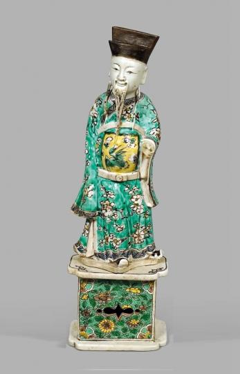 Chinese Famille Verte Glazed Biscuit Porcelain Figure of Lu Dongbin