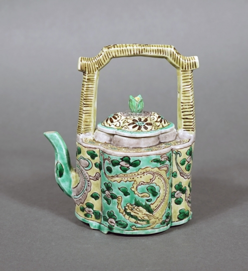 Fine and Very Rare Chinese Green and Yellow Porcelain Teapot