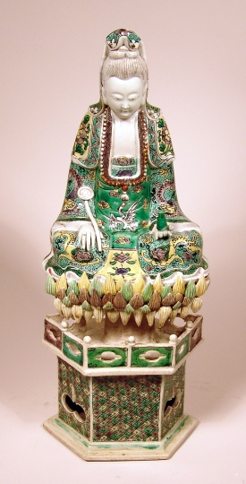 Chinese Famille Verte Porcelain Figure of Guanyin with Lotus Base
