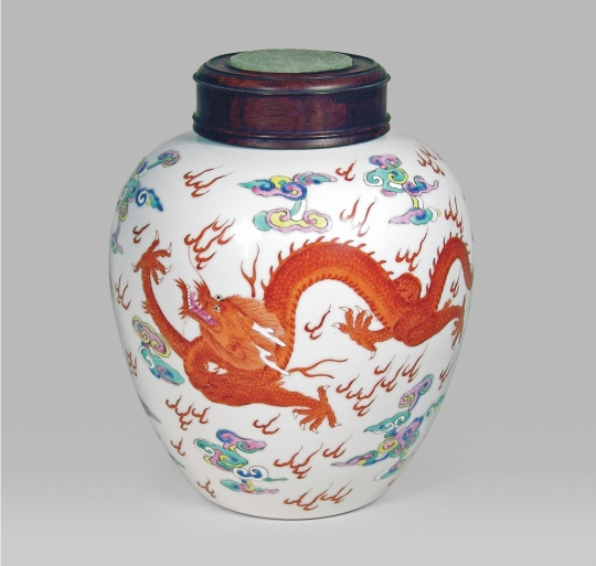 Chinese Imperial Famille Rose Porcelain Dragon Jar