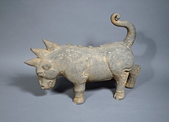 Chinese Unglazed Pottery Figure of a Mythical Tricorn Animal