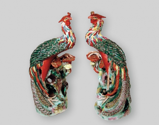 Pair of Chinese Porcelain Figures of Phoenixes
