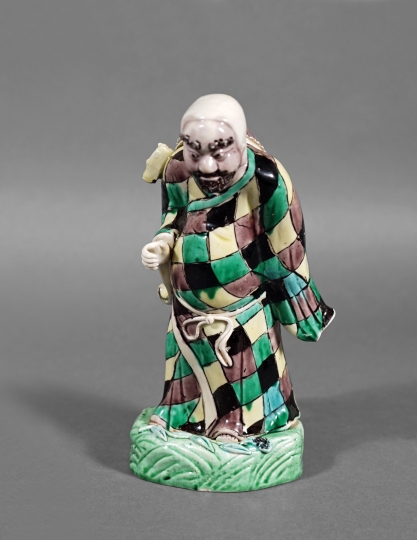 Chinese Sancai Glazed Porcelain Figure of Bodhidharma