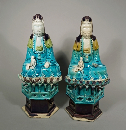 Pair of Chinese Fahua Glazed Porcelain Guanyin