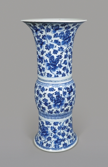 Chinese Blue and White Porcelain Gu Shaped Vase