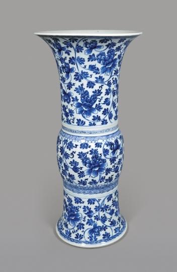 Chinese Blue and White Porcelain Gu Shaped Vase
