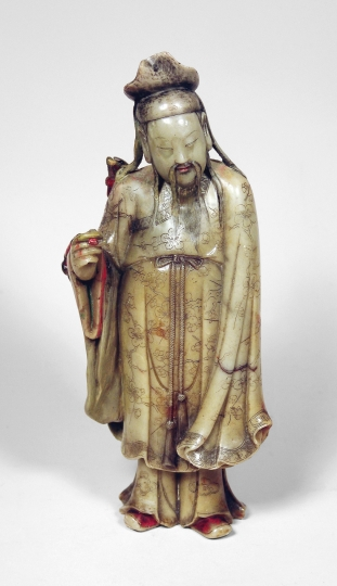 Chinese Carved Soapstone Figure of an ImmortaL