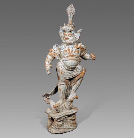 Chinese Unglazed Pottery Lokapala Guardian Figure