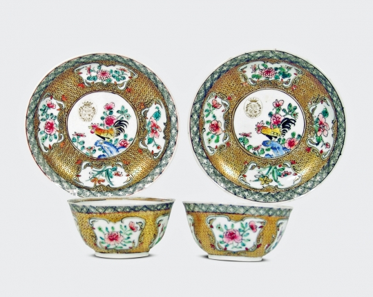 Pair of Chinese Semi-Eggshell Porcelain Tea Bowls and Saucers