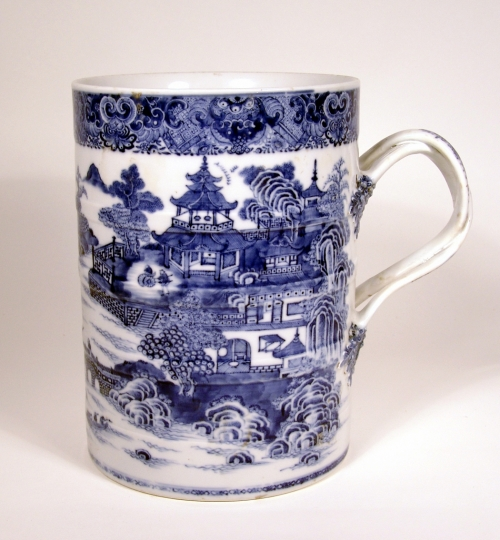 Rare Large Blue and White China Trade Porcelain Tankard