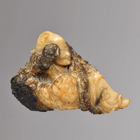 Fine Chinese Carved Soapstone Figure of a Reclining Lohan, Pindola Bharadvaja