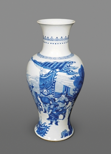 Fine Chinese Blue and White Porcelain Baluster Vase