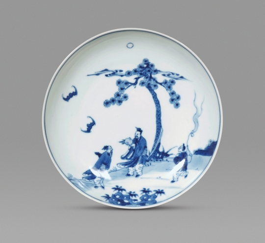 Chinese Imperial Blue and White Porcelain Rounded Dish