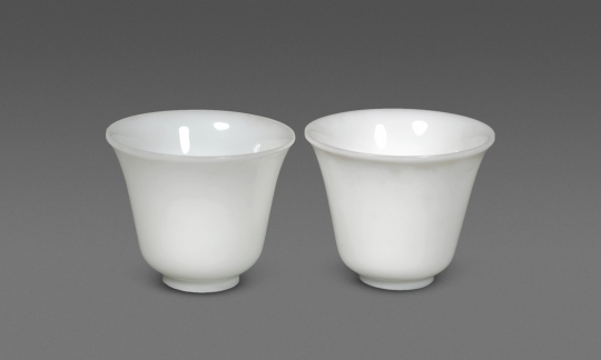 Pair of Fine White Beijing Glass Cups