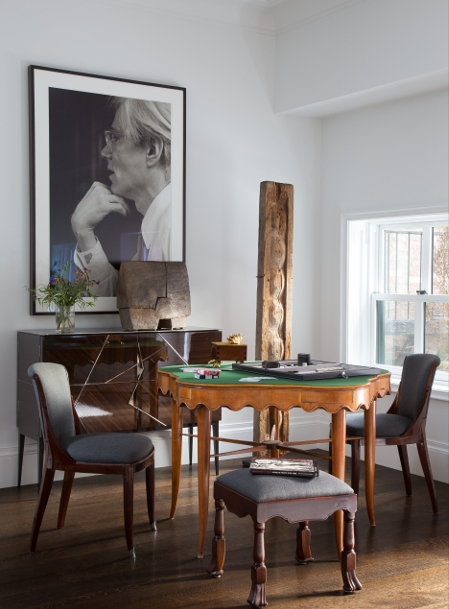 A pair of Maison Leleu sidechairs, circa 1925 and a mid-century game table covered in felt