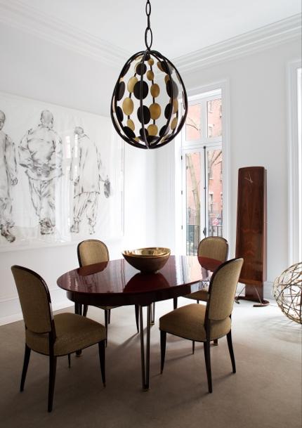 Four of a set of ten Maison Leleu dining chairs