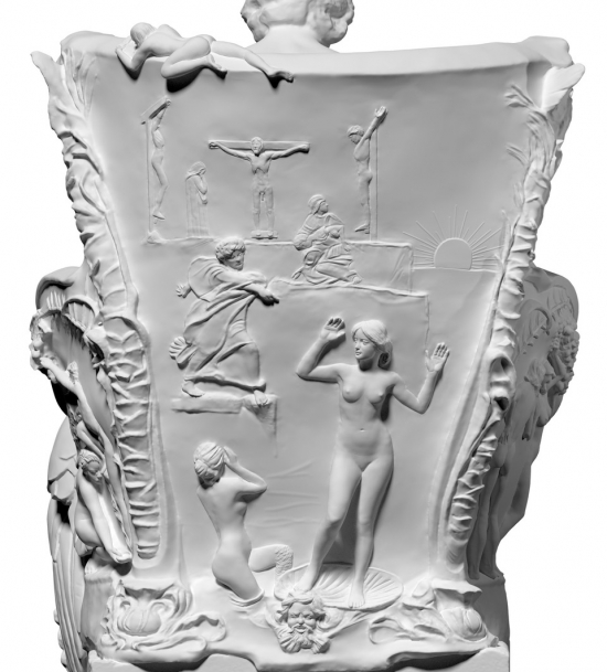 The refined photogrammetric scan of Klinger's sculpture with clear figures and detailing