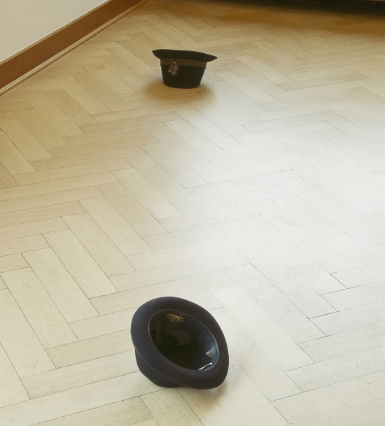 Detail view of Chapeau d'encre installation