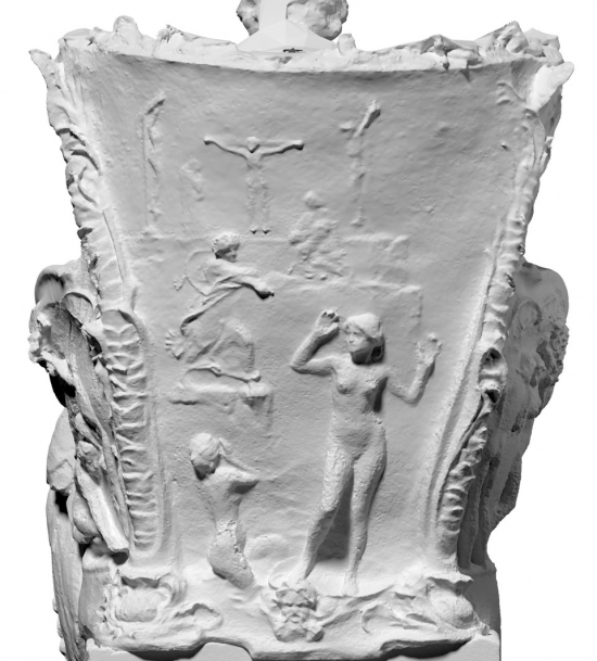 The rough photogrammetric scan generated using existing photographs of Klinger's sculpture at the Museum of Fine Arts Leipzig