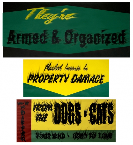 Gary Simmons Armed and Organized, Property Damage, Dogs & Cats, 2008 Triptych; pigment and oil paint on gessoed paper