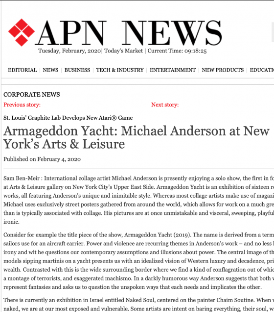 Armageddon Yacht: Michael Anderson at New York's Arts & Leisure