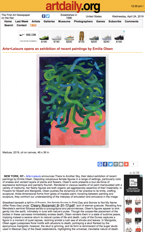 "Emilia Olsen ""There Is Another Sky"" featured on Artdaily"