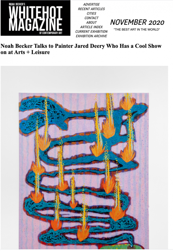 Noah Becker Talks to Painter Jared Deery Who Has a Cool Show on at Arts + Leisure