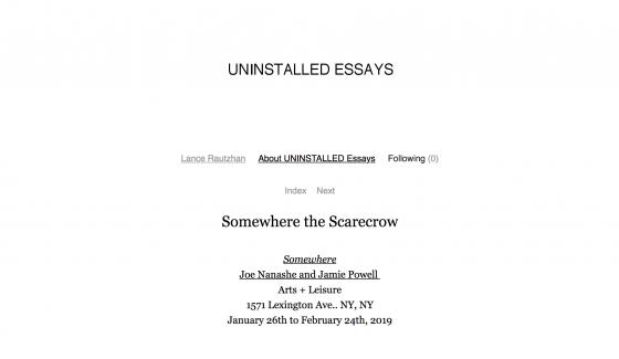 """Somewhere"" featured on Lance Rautzhan's blog ""Uninstalled Essays"""