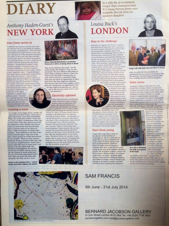 June Art Newspaper, Anthony Haden-Guest's New York