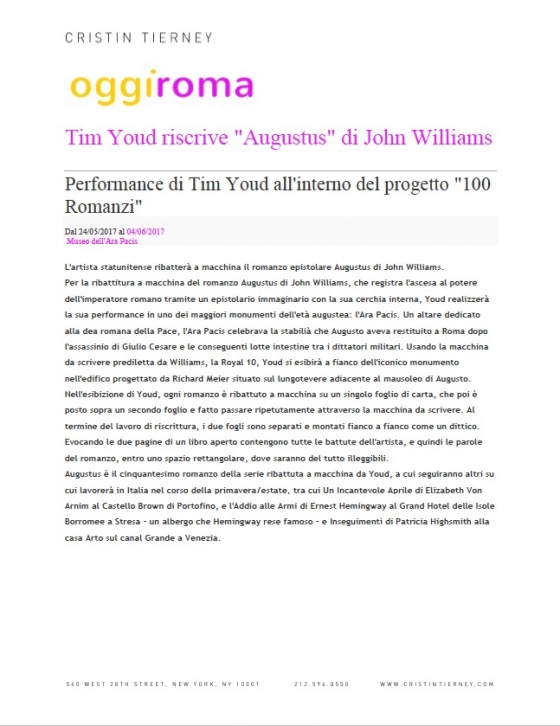 "Tim Youd riscrive ""Augustus"" di John Williams"