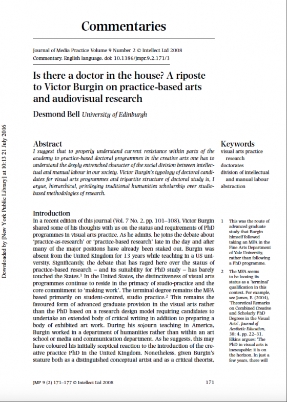 Is there a doctor in the house? A riposte to Victor Burgin on practice-based arts and audiovisual research