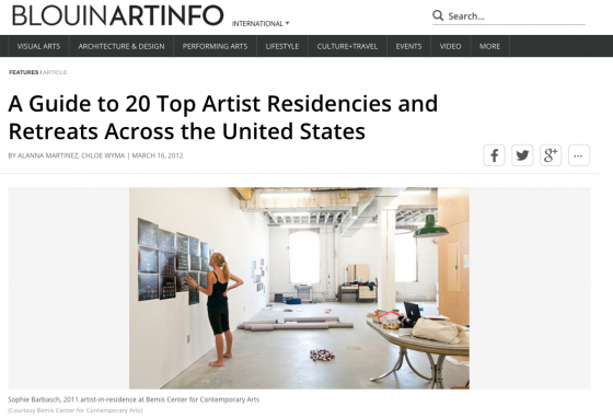 "Blouin ArtInfo Publishes ""A Guide to 20 Top Artist Residencies and Retreats Across the United States"""
