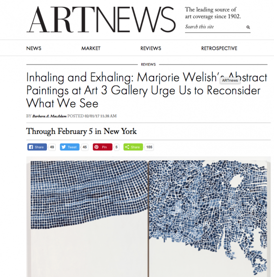 MARJORIE WELISH review in ART NEWS