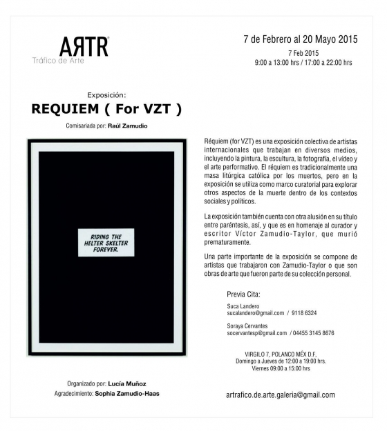 ADOLFO DORING in REQUIEM (For VZT), curated by Raul Zamudio