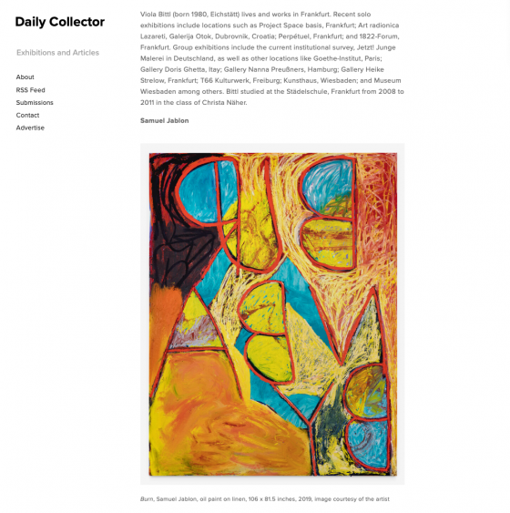 Samuel Jablon featured in the Daily Collector l 20 Painters Who Are Shaping the New Decade