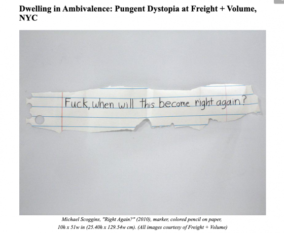 Dwelling in Ambivalence: Pungent Dystopia at Freight + Volume, NYC