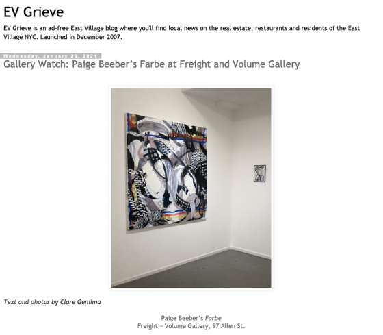 Gallery Watch: Paige Beeber's Farbe at Freight+Volume