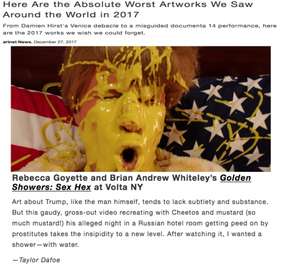 """Golden Showers: Sex Hex"" made the top ten worst artworks worldwide in 2017 list on Artnet"