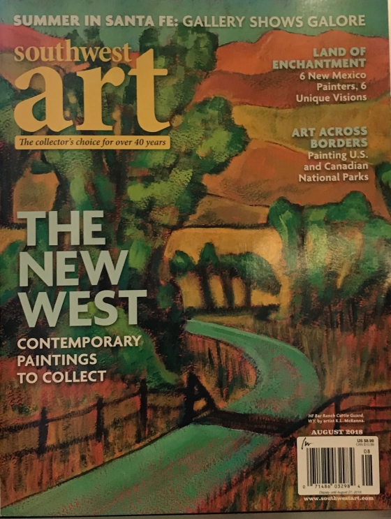 Artist Katharine McKenna on cover of August 2018 Southwest Art Magazine
