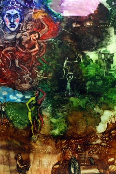 Shrilekha Sikander UNTITLED (RAVANA AND SITA) Watercolor on paper 27.5 x 21 in.
