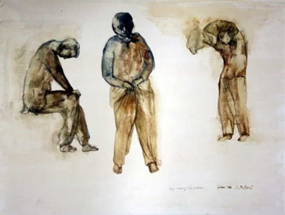Nalini Malani BOY WEARING HIS CLOTHES 1983 Watercolor on paper 11 x 15 in.