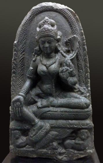 Tara India, Pala Dynasty Black stone 10th - 11th Century Height: 24.5 in.