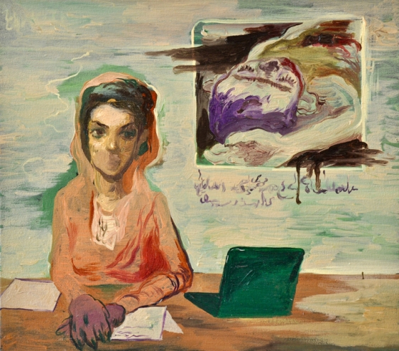 Salman Toor Newscaster I 2015 Oil on canvas 15 x 18 in.