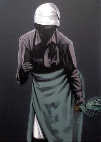 Rajan Krishnan Peasant Woman  2011 Acrylic on canvas 84 x 60 in.