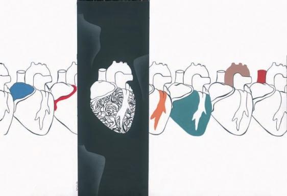 Ayesha Durrani KEEP THE HEART IN LINE 2009 Gouache on wasli 13.5 x 19.5 in.