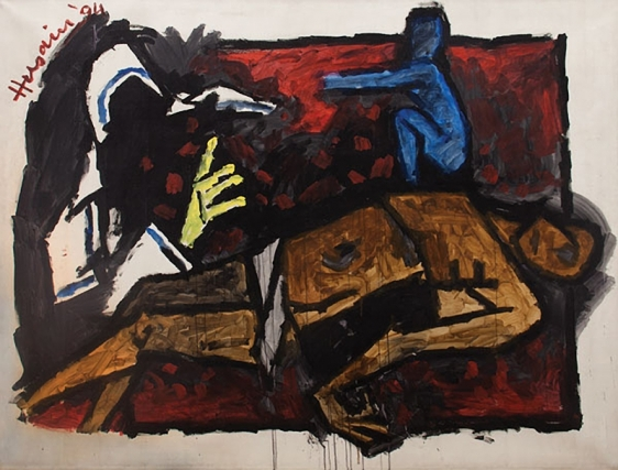 M. F. Husain Untitled (Pieta with Mother Theresa) 1994 Acrylic on canvas 71.5 x 95 in.