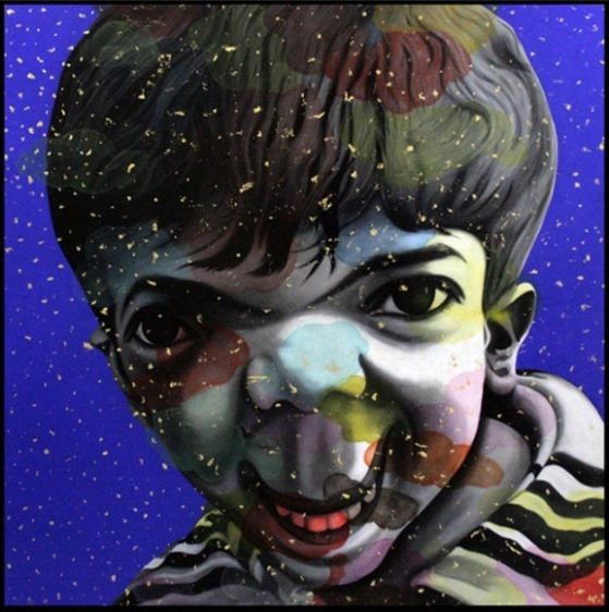Chintan Upadhyay LOST CHILDHOOD 2008 Oil, acrylic and gold leaf on the canvas 72 x 72 in.