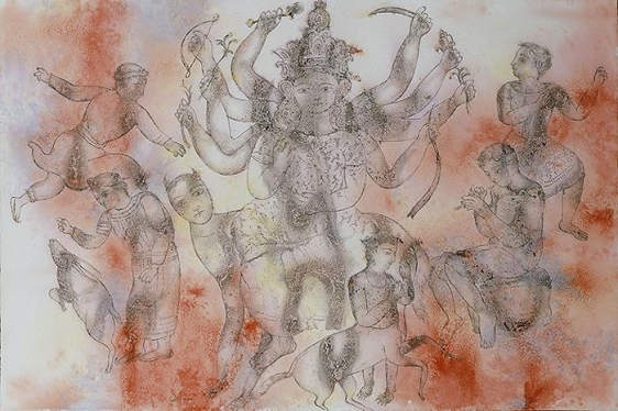Sakti Burman GANAPATHY PLAYING THE FLUTE FOR DURGA 2008 Watercolor on paper 31.5 x 47 in.