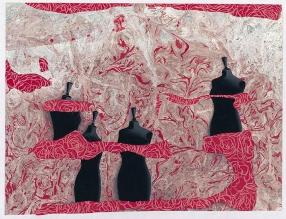 Ayesha Durrani FAIRY TALES 2008 Gouache and marbling on wasli 13 x 15 in.