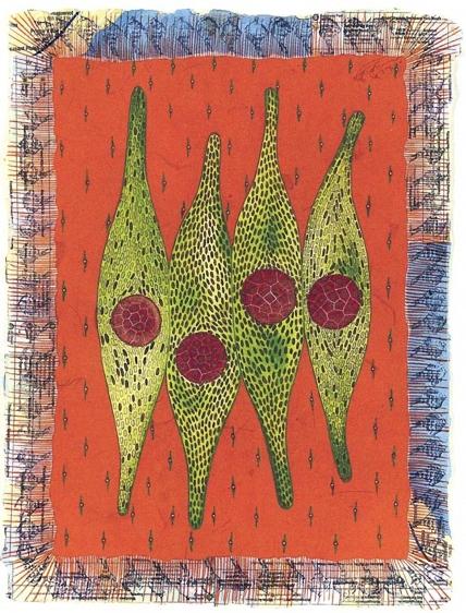 Talha Rathore A Hundred Suns III 12 x 9 in. Gouache and block print on wasli 2006 Estimate - $4,000 - $7,000